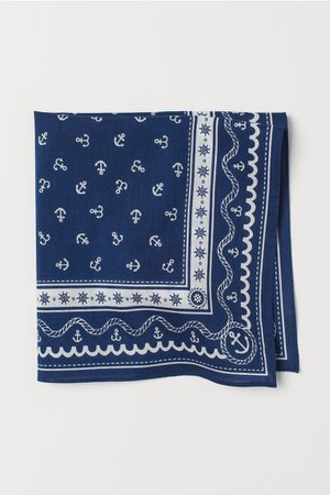 Cotton Scarf - Dark blue/patterned - Kids | H&M US