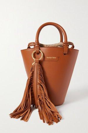 Cecilia Tasseled Leather Tote - Tan