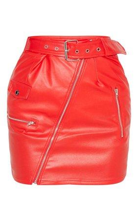 Red Biker Belted Mini Skirt | PrettyLittleThing USA