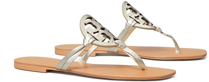 Miller Square-Toe Sandal, Metallic Leather