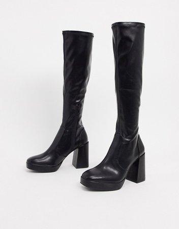 Pull&Bear platform heel knee boots in black | ASOS