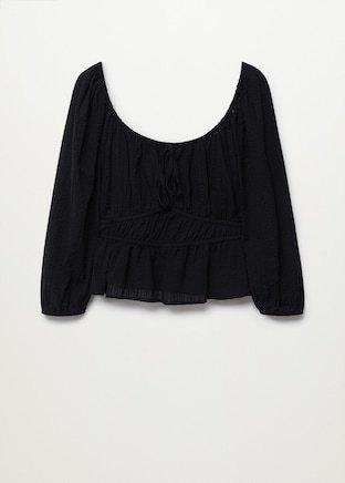 Gathered cotton blouse - Women | Mango United Kingdom