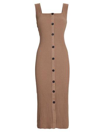 Enza Costa Ribbed Knit Button Midi Dress | INTERMIX®