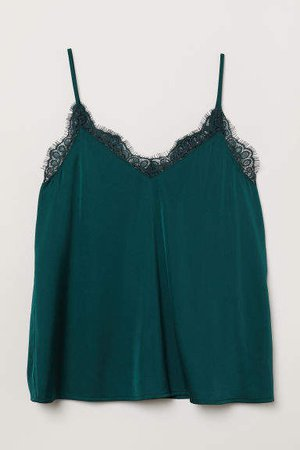 Satin Camisole Top - Green