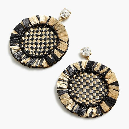J.Crew: Rainbow raffia fringe disc earrings black