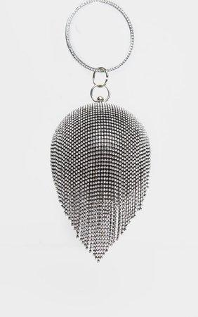 Black With Silver Diamante Tassel Sphere Clutch | PrettyLittleThing