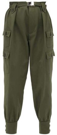 Belted Cotton Twill Cargo Trousers - Womens - Dark Green
