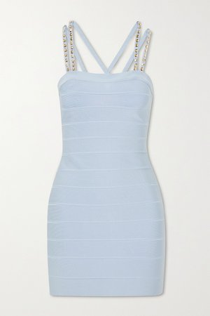 Blue Swarovski crystal-embellished bandage mini dress | Hervé Léger | NET-A-PORTER