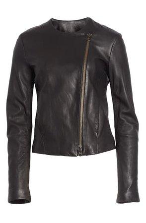 Vince Zip Cross Front Leather Jacket | Nordstrom