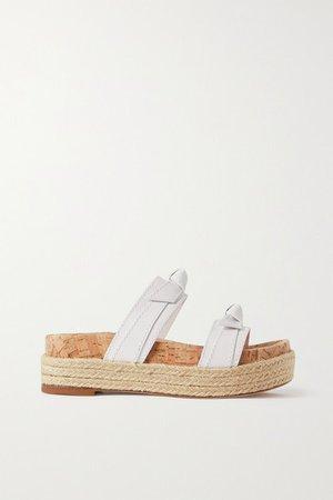 Clarita Sport Leather Espadrille Platform Sandals - White