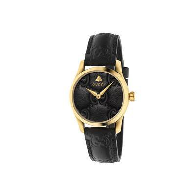 black Gucci Signature leather G-Timeless watch, 27mm | GUCCI® US