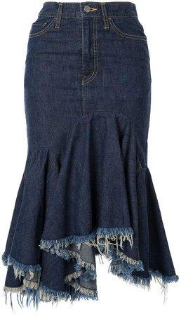 cut-off denim skirt
