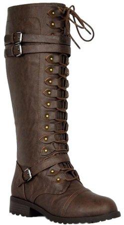 Motive-01 Women Knee High Lace Up Side Zipper Military Combat Flat Boots Brown