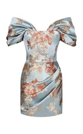 Floral Jacquard Corset Mini Dress With Voluminous Sleeves By Rasario | Moda Operandi