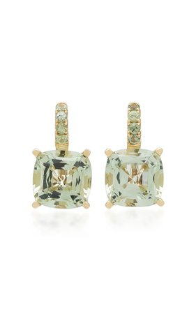 Green Quartz and Sapphire 14K Yellow Gold Drop Earrings by Jane Taylor | Moda Operandi