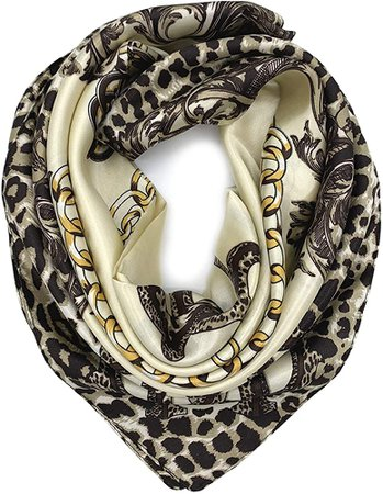 YOUR SMILE Silk Like Scarf Women's Fashion Pattern Large Square Satin Headscarf Headdress Black Chain Carriage at Amazon Women's Clothing store