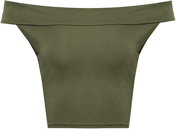 olive green off shoulder crop top