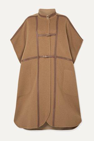 Light brown Leather-trimmed wool-blend cape | Burberry | NET-A-PORTER