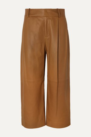 Camel Cropped leather wide-leg pants | Vince | NET-A-PORTER