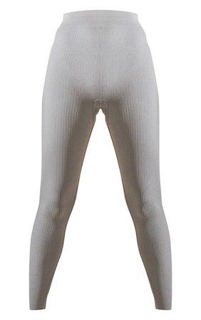 Grey Marl Structured Contour Rib Leggings | PrettyLittleThing