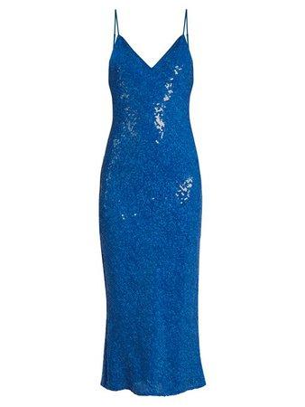 DIANE VON FURSTENBERG Havita Sequin-Embellished Midi Slip Dress, Neptune Blue - Google Search