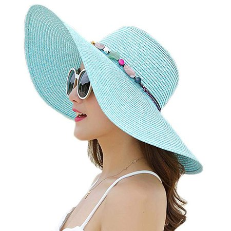 Adrinfly Women Floppy Sun Hat Foldable Wide Brim Adjustable Beach Straw Accessories Cap UPF 50+ Sky Blue at Amazon Women's Clothing store: