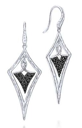 White Gold / Black Kite Shaped Dangle Earring