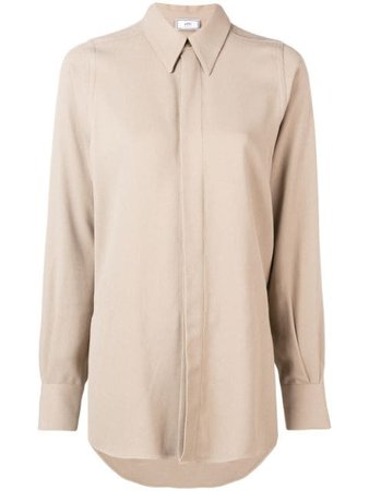 AMI Concealed Button Pointed Collar Shirt - Farfetch