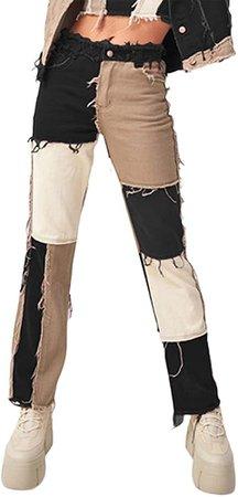 Viloong Women's Patch Jeans Pant Bell Bottom Raw Hem Denim Pants Slim Bootcut Jean at Amazon Women's Jeans store