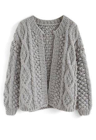 Wintry Morning Cable Knit Cardigan in Grey - TOPS - Retro, Indie and Unique Fashion