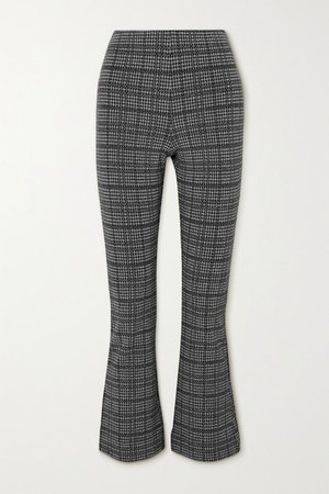 Stili Cropped Princes Of Wales Checked Woven Flared Pants - Gray