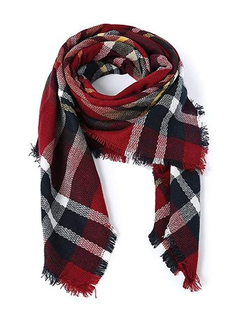 American Trends Women's Fall Winter Scarf, Classic Tassel Plaid, Warm Soft Chunky Blanket Wrap Shawl Scarves, Large, Pink/Beige/Red/Black/Brown at Amazon Women's Clothing store