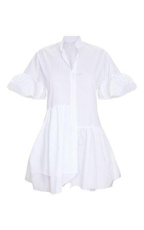 White Frill Drop Hem Buttoshirt Dress | PrettyLittleThing USA