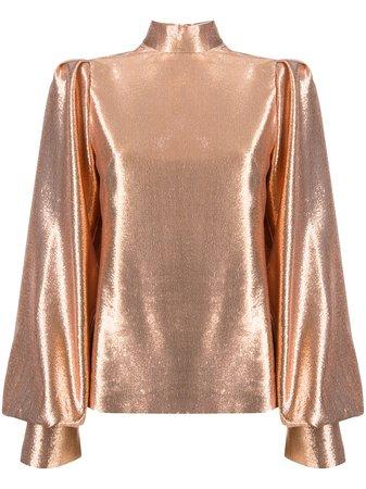 Galvan metallic bishop-sleeve silk blouse gold TL5043 - Farfetch