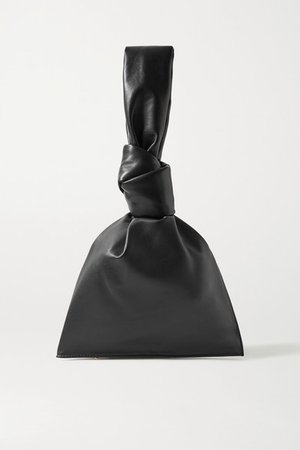 Twist Knotted Leather Clutch - Black