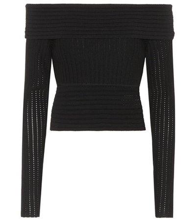 Wool-blend off-the-shoulder top