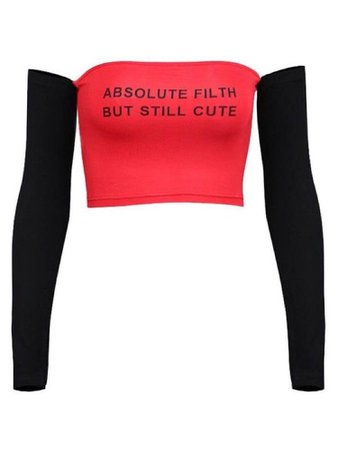 Red and black sleeves off the shoulder Text crop top