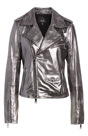 Hudson Jeans Classic Metallic Lambskin Leather Moto Jacket | Nordstrom