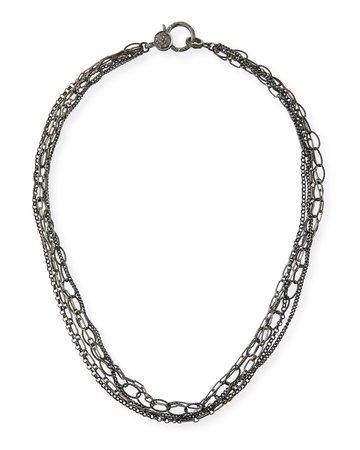 Margo Morrison Multi-Chain Diamond-Clasp Necklace