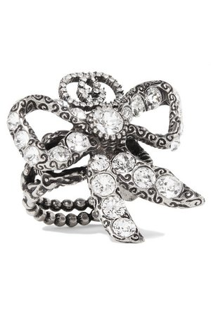 Gucci | Palladium-tone crystal ring | NET-A-PORTER.COM