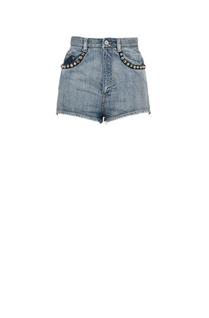 Washed denim shorts with metal studs | MiuMiu