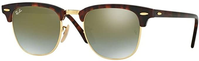Amazon.com: Ray Ban RB3016 CLUBMASTER 990/9J 49M Shiny Red/Havana/Green Flash Gradient Sunglasses For Men For Women: Clothing