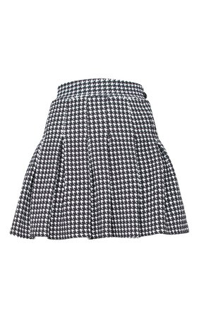 Black Dogtooth Pleated Side Split Tennis Skirt | PrettyLittleThing USA