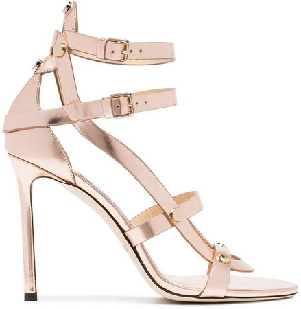 Rose gold Motoko 100 leather sandals