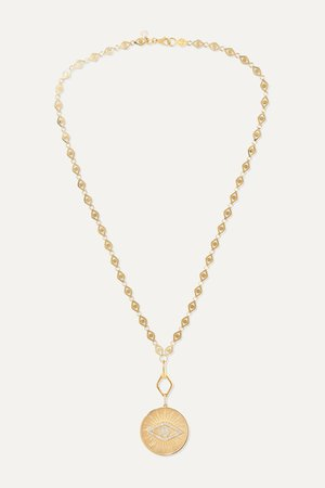 Gold Evil Eye 14-karat gold diamond necklace | Sydney Evan | NET-A-PORTER