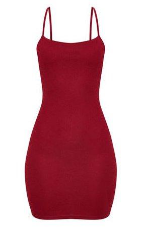 Burgundy Strappy Straight Neck Bodycon Dress | PrettyLittleThing