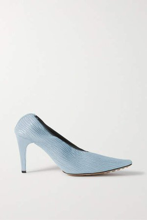 Textured-leather Pumps - Light blue