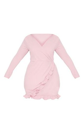 Plus Dusty Pink Long Sleeve Ruffle Wrap Dress | PrettyLittleThing