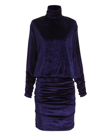 Turtleneck Velvet Mini Dress
