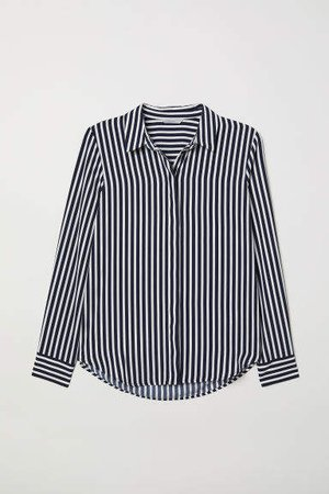 Long-sleeved Blouse - Blue